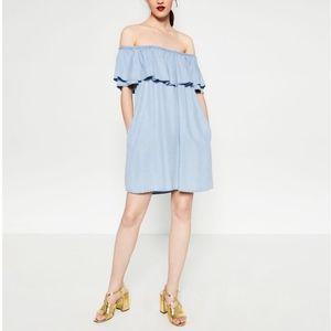 Zara Ruffled Off-the-shoulder Chambray Mini Dress